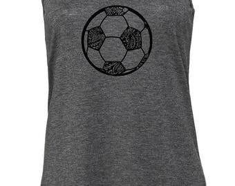 Women's Soccer Printed Tank, Soccer Ball, Racerback Tank, Women's Soccer Shirt, Printed Tanktop, Soccer Tank, Futbol Shirt, Soccer Mom