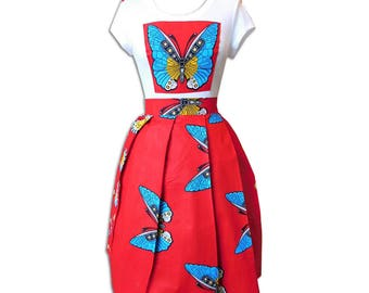 African Butterfly Print Two Piece Set