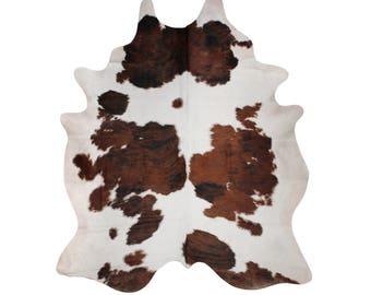 Cowhide Rugs - Tricolour Cowhide Rug - Handpicked Natural Cowhide