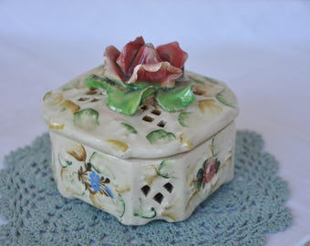 Vintage Italian Art Pottery Octagonal Trinket Box with Rose Decoration