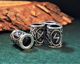 Viking Beard Beads Futhark Runes Hair Bead Dwarven Beard Ring, Asatru Celtic Jewelry Viking Jewelry Norse Dreadlock