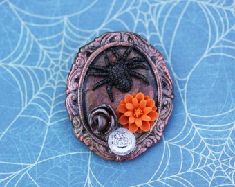 Halloween Spooky Spider Brooch - Creepy and Cute Halloween Brooch - Sparkle Spider and Flowers  Halloween Pin