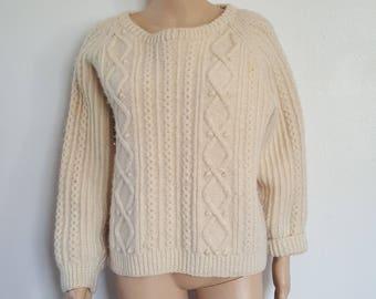 Fisherman Irish Knit Sweater / Cream Sweater / Boatneck / Galway Heather