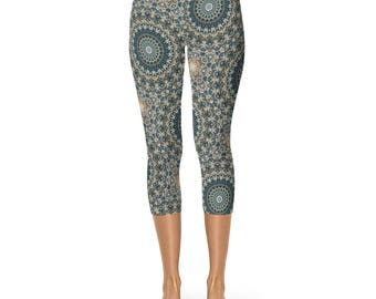 Capri Abstract Nature Pattern Leggings - Brown and Green Mandala Yoga Leggings, Womens Leggings