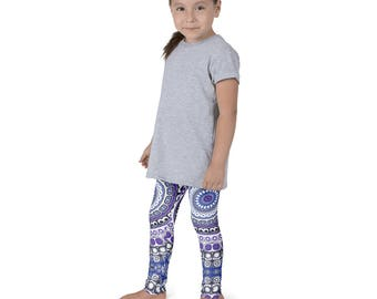 Kids Leggings, Cute Tribal Style Leggings for Girls, Children's Printed Yoga Pants, Mandala Design