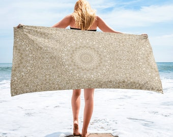 Beige Beach Towel, Lightweight Khaki and White Mandala Blanket for Beach or Pool, Towel Cover Up