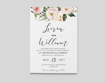 Floral Wedding Invitation | Floral Botanical Rustic Vintage Wedding Invitations |  DIY PDF Printable Digital | The Lorraine Suite