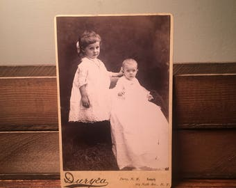 Adorable Cabinet Card of Young Siblings, 19th Century Antique Photograph