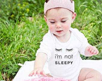 Sale, Baby Girl Coming Home Outfit, Funny Baby Take Home Outfit, Sleepy Eyes, Girl Clothing, Bodysuit, Cute Saying, Trendy Baby Gift for Her