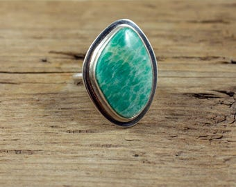 Amazonite Ring, Amazonite Gemstone Cabochon and Sterling Silver Ring, Ring size 6.5