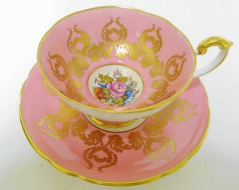 Aynsley artist signed JA Bailey tea cup and saucer, rose & poppy bouquet gold tea cup and saucer, Athens pink tea cup, pedestal tea cup