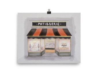 Patisserie Art Print, bakery art watercolor, French bakery art