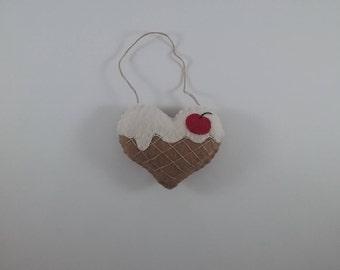 Ice Cream Sundae Heart /accent/ornament/hand stitched/repurposed wool fabric