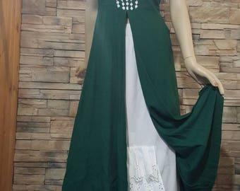 linen summer dress ,medieval,Renaissance,green linen  Costume  ,green elf costume,woodland fairy cosplay,St.patricksday dress,