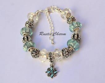Silver Plated Light Blue Flower crystal European Style Charm Bracelet