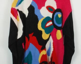 Vintage Sweater, Vintage Knit Pullover, 80s, 90s, multicolor, long, oversized look