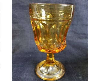 Amber Glass Thumb Print Goblet, Water Glass/Breakfast Glass, Mid Century Footed Goblet, Gold Glass, Vintage 70's Goblet, Price Per Goblet