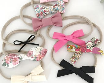 Headbands for baby / child nylon - fabrics & knotted loops - sets or individual, your choice of color!