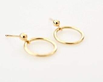 Simple Circle Stud Earrings, 14K Gold Fill Hoop Earrings, Minimal Earrings, Small Circle Stud Earrings, Small Gold Fill Earrings