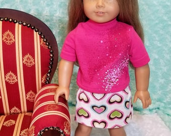 Pink Turtleneck Shirt with Cream Corduroy Skirt - American Girl & Friends