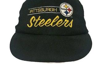 VTG NFL Annco Pittsburgh Steelers Script Trucker Mesh Snapback Hat