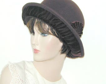 Convertible 4-way Custom wool and velvet bowler cloche - Miss Fisher, Downton Abbey, Gatsby hat