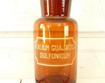 Vintage Apothecary jar, glass stopper, pharmacy bottle, chemist jar