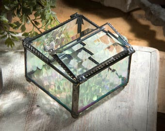 Glass Jewelry Box Glass Box Butterfly Keepsake Box Gift for Her Jewelry Chest Bridesmaid Gifts Stained Glass Vintage Jewelry Box 185-3