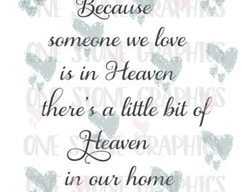 Because someone we love is in heaven,there's a little bit of heaven in our home svg,Loss svg,parent loss svg,Ornament svg,heaven svg,heaven