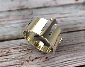 Solid Gold Seattle Skyline Ring - Seattle Ring - Souvenir - Seattle Jewelry - Seattle Cityscape - Ring - Seattle Gift