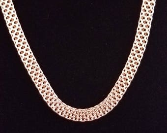 "C029 11g Vintage Solid Silver Intricate Pressed Fancy Link 18"" Sterling Necklace"