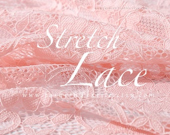 Pink lace fabric stretch lace. Sold by metre/ yard