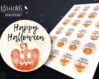 "24 labels / stickers / labels ""Happy Halloween"" pumpkin and Ghost"