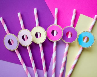 Donut Party Straws, Donut Party Decor, Donut Party Supplies, Donut Grow Up, 1st Birthday Party, First Birthday, Donut Party, Pink Straws
