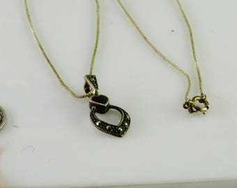 """Antique Marcasite Onyx Pendant on a 17"""" Box Link Chain Only Chain is Marked Sterling"""