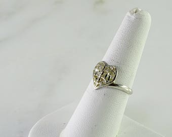 Sterling Diamond cut Heart Ring Size 7