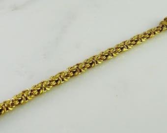 """7 1/2"""" Byzantine Gilt Sterling Silver Bracelet Italy 925"""