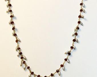 Garnet - Pearl - Gold Filled - Necklace