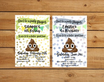 Poop emoji party invitation - Blue or Green