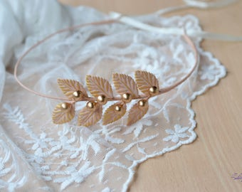 Wedding crown Peach bridal headband leaves gold crown Greek halo leaf crown peach gold wreath Roman Headband Wedding halo leaves tiara
