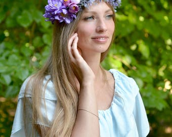 Floral crown flower Purple wedding halo berries crown woodland head wreath Lilac bridal hair wreath Boho bride halo tie back crown wedding