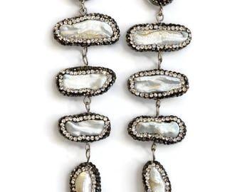 Pearl Rhinestone Earrings