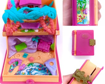Vintage 1995 Polly Pocket Glitter Island Enchanted Storybooks Sparkly Book Compact Bluebird Mattel 90s Retro Original Fairy Kei Kawaii