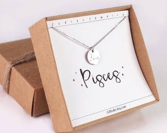 Pisces necklace, Pisces jewelry, horoscope necklace, constellation, zodiac necklace, best friend gift, horoscope jewelry, birthday gift