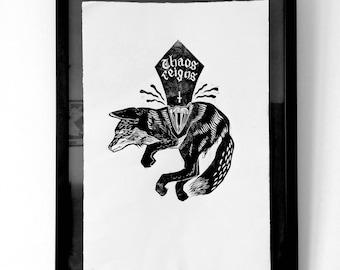 Antichrist - Original Lino Print