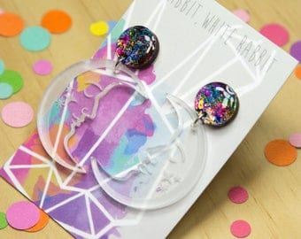 Prismatic Moon Dangle Earrings