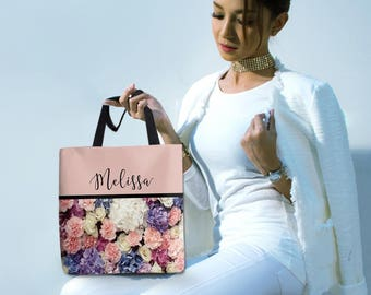 Monogram Floral Canvas Tote Bag, Handbag. Hobo Purse, Diaper, Books, Computer, Travel Carry On, School Accessory for Mom, Daughter, Sister