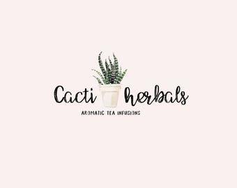 Watercolor logo design - Cactus Premade logo - Bohemian watercolor logo - Boho logo design - Branding for shops - Business logo