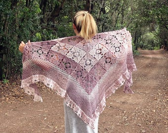 Cocoa Cream Crochet Shawl