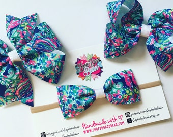 Exotic Escapade, Lilly Pulitzer Inspired Hair Bow, Lilly Pulitzer Bow, Headband, Lilly Bow, Lilly Pulitzer Inspired Ribbon, Buy 5 Get 1 Free